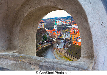 Cesky Krumlov historic center aerial view