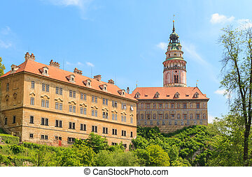 cesky, krumlov, /, krumau, castillo, y, torre, unesco, mundo, herencia, sitio