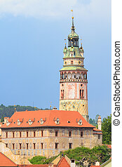 Cesky Krumlov / Krumau, View on Castle Tower, UNESCO World Heritage Site