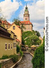 Cesky Krumlov / Krumau, View on Castle Tower, UNESCO World...