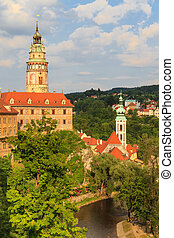 Cesky Krumlov / Krumau, View on Castle und River, UNESCO World Heritage Site