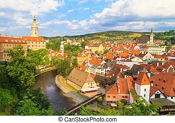 cesky, krumlov, /, krumau, vista, ligado, castelo, torre,...