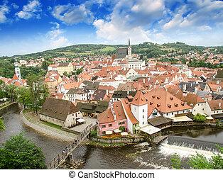 cesky, krumlov, luftblick, mit, medievalo, architektur, und, vltava fluß, -, tschechische republik