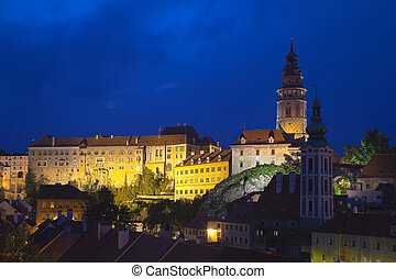 Cesky Krumlov the castle in the night HDR