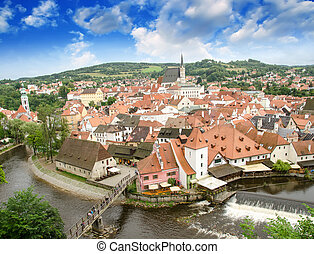 cesky, krumlov, vue aérienne, à, medievalo, architecture, et, rivière vltava, -, république tchèque