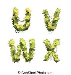 cespugli, carino, font, bianco, viti, tropicale, u, w, v, x, glyphs, cartone animato