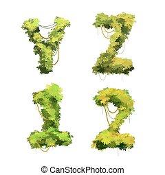cespugli, carino, font, viti, tropicale, 1, bianco, y, 2, z, cartone animato, glyphs