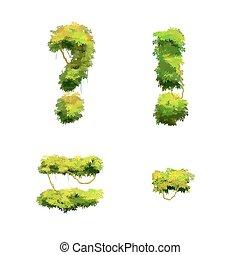 cespugli, font, punteggiatura, isolato, viti, tropicale, bianco, glyphs, cartone animato