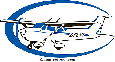 cessna - a Cessna airplane with a blue swoosh