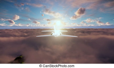 Cessna cruising above clouds at sunset