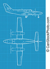 high detailed vector illustration of small modern civil airplane