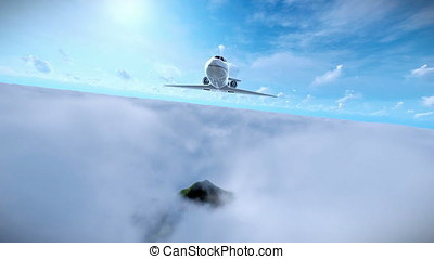 Cessna flying above afternoon clouds