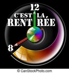 C'est la rentr - Clock Illustration with hands shaped like...