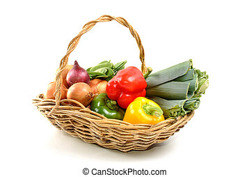 cesta, algum, vegetal, orgânica, fresco