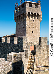 Cesta and The Montale on the cliff edge on Mount Titano, San Marino