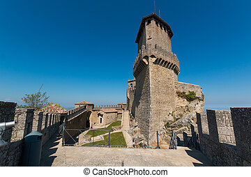 Cesta and The Montale on the cliff edge on Mount Titano. Second Tower. Republic of San Marino inside Italy.