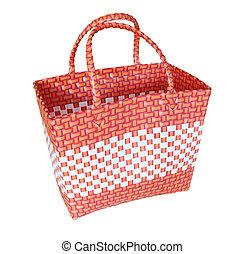 cesta, arte, isolado, mão, plástico