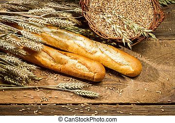 cesta, baguettes, lleno, grano, orejas