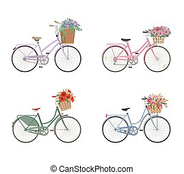 cesta, bicycles, conjunto, flores, lleno