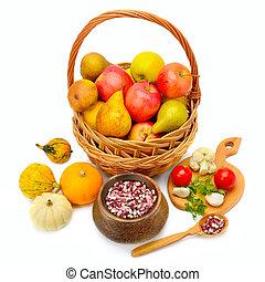 cesta, blanco, aislado, plano de fondo, fruits
