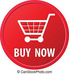 cesta, botón, compras
