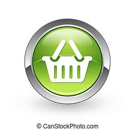 cesta, -, botón, esfera verde