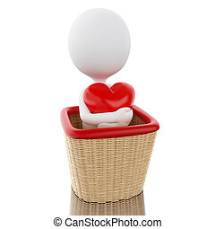 cesta, branca, 3d, heart., pessoas