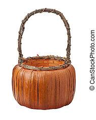 cesta, branca, isolado, abóbora