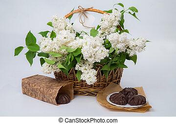 cesta, branca,  tag, lilás