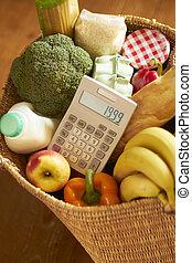 cesta, calculadora, comestibles