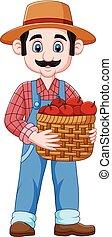 cesta, caricatura, maçãs, segurando, agricultor