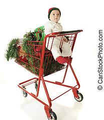 cesta, cheio, bebê, Natal