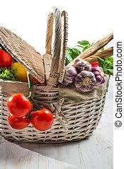 cesta, cheio, de, legumes frescos