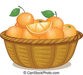cesta, cheio, laranjas