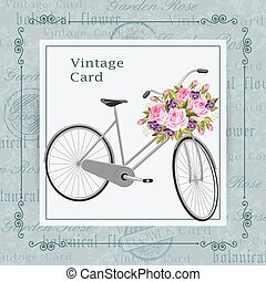 cesta, cinzento, flores, cheio, bicicleta