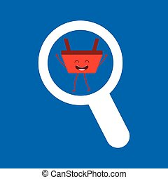 cesta, comércio, procurar, vermelho, ícone