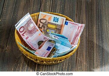 cesta, com, dinheiro, de, doações
