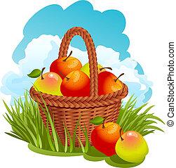 cesta, com, maçãs
