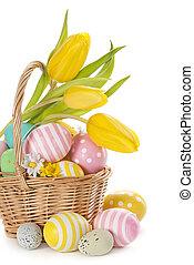 cesta, com, ovos páscoa