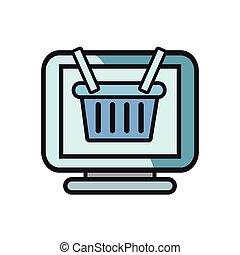 cesta, computadora, ir de compras en línea directa