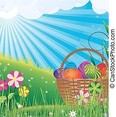 cesta, con, huevos de pascua