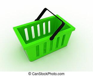 cesta, concepto, compras, 3d