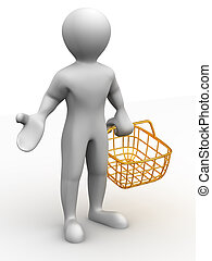 cesta, consumidor, hombre