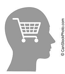 cesta, consumismo, cabeza, ilustración, concepto
