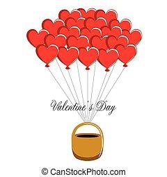 cesta, coração, ar, balões, dado forma