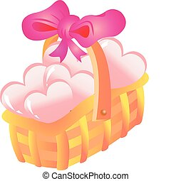 cesta, corações