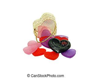 cesta, corações, metal, ouro