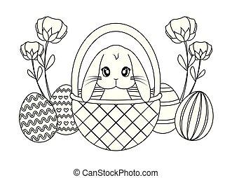 cesta, cute, ovos, coelho páscoa