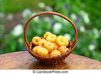 cesta, de, amarillo, frambuesas, en el jardín