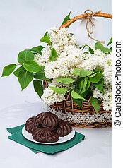 cesta, de, branca, lilás, com, renda, com, marshmallow, chocolate